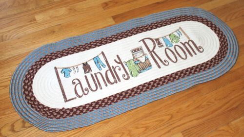 Laundry Room 4 Ft Long Braided Oval Rug Blue Mat Washer//Dryer Utility Decor