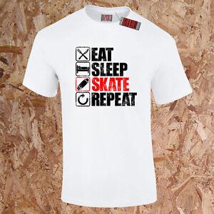 EAT SLEEP SKATE REPEAT T-Shirt Skateboard Ramp Skater Skateboarding BMX Gift