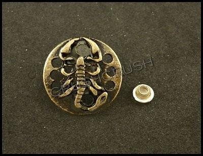 10 Ensembles en laiton antique ronde Roi Scorpion égyptien Rivets Cuir RV8216