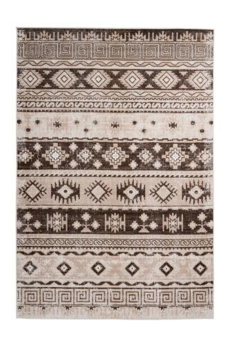 Vintage Teppich Taupe Beige Azteken Muster Maya Ethno Design Wohnzimmer 80x150cm