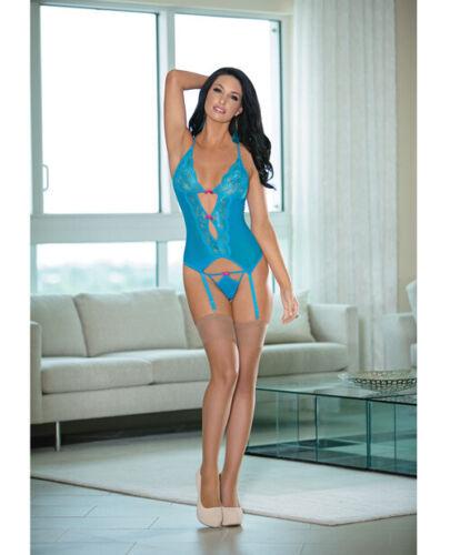Details about  /Escante Aqua Mesh Bustier w// Panty /& Stockings O//S Lingerie