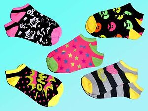 Multicolore-Court-Chaussettes-Baskets-Bas-Smiley-Couleur-Neon-35-42-Neuf