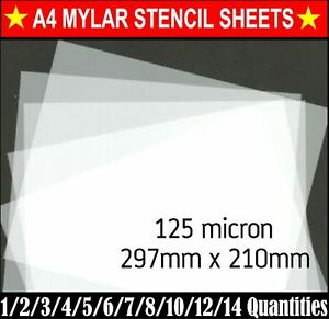 Genuine MYLAR STENCIL Blank Film Sheets LASER SAFE 6 x A4 190 micron REUSABLE
