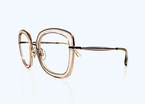 Jimmy Choo Rose Gold & Pink Oversized Square Glasses Italy Glennis 52 24 140