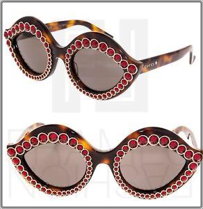 2b68b8e2c9b GUCCI CRYSTAL LIPS 0045 Cat Eye Havana Brown Red Stud Sunglasses ...