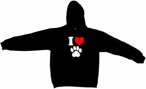 I Heart Love Dog Paw Print Logo Men/'s Hoodie Sweatshirt