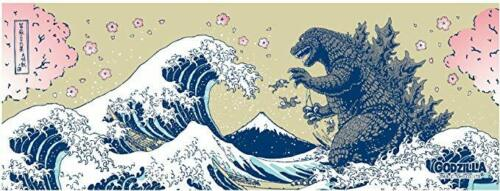 Mt Japanese Hand Towel with GODZILLA New Fuji and Cherry Blossoms