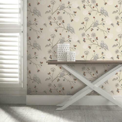 Arthouse Night Owl cuivre paillettes feuilles beige gris Branches Papier Peint 665000