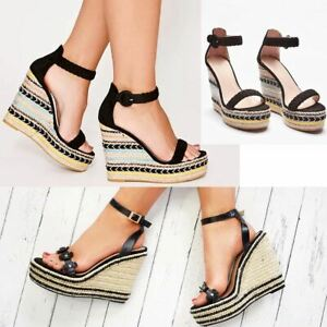 Womens-High-Wedge-Espadrilles-Strappy-Sandals-Striped-Woven-Straps-Summer-Heels