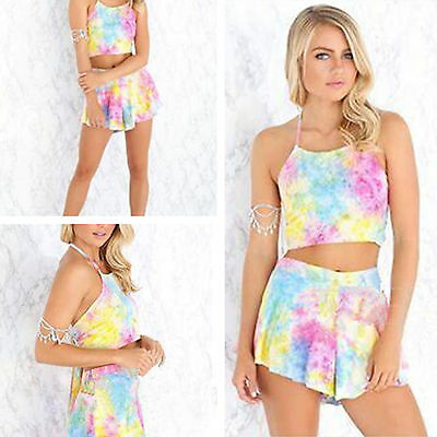 Women's Co-ord Two-pieces Rompers Mini Sleeveless Pastel Tie Dye Casual Bowknot