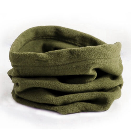 Mens Ladies Plain Polar Fleece Neck Wrap Warmer Thermal Snood Scarf Hat Ski Wear