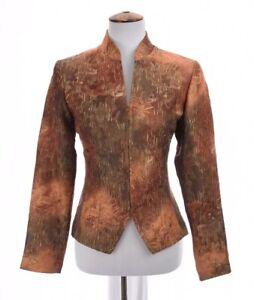 Coldwater-Creek-Womens-Jacquard-Blazer-Zip-Up-Jacket-Paisley-Print-Sz-4-Small