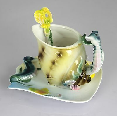 1 Cup 1 Saucer 1 Spoon Porcelain Hippocampus Tea Coffee Set Gift Collectible