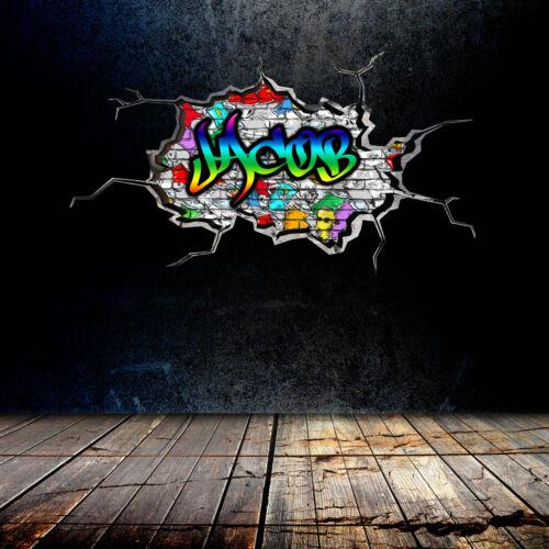 3D Personalisiert Graffiti Jeder Name Gesprungen Wandkunst Aufkleber Wandsticker