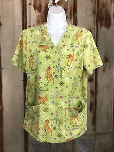 f28748d126b DISNEY Bambi Scrub Top Woman's Sz. S Bright Green Fun Cute EUC | eBay