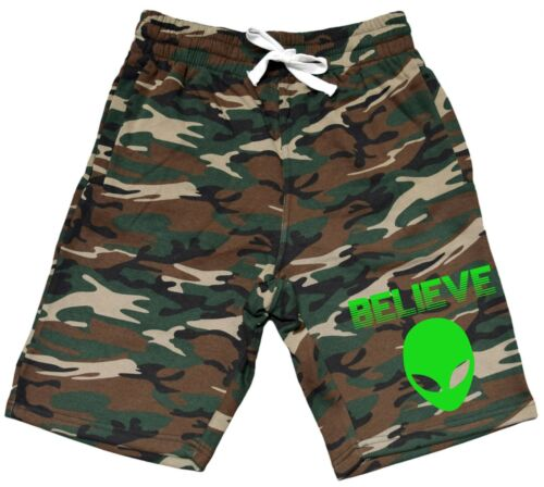 Men/'s Believe In Aliens Fleece Camo Shorts Sweatpant Weed Rave Party Space V356