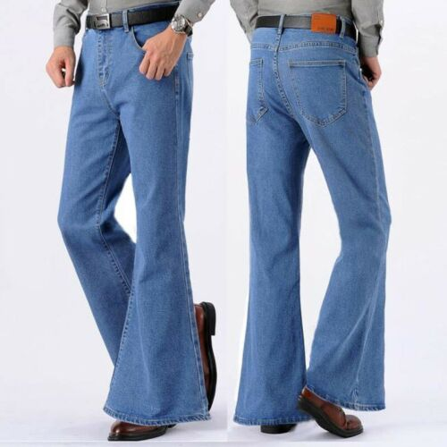 1970s Men's Clothes, Fashion, Outfits   Men Bell Bottom Jeans Flared Denim Pants Retro 60s 70s Trousers Slim Fit Casual $52.07 AT vintagedancer.com