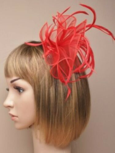 Red Fascinator  Hatinator Wedding Prom Clip Comb Band Flower Feather Lot