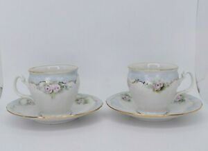 * Bernadotte * Sonata White W/ Green Pink Gold Floral Pair of Teacups & Saucers