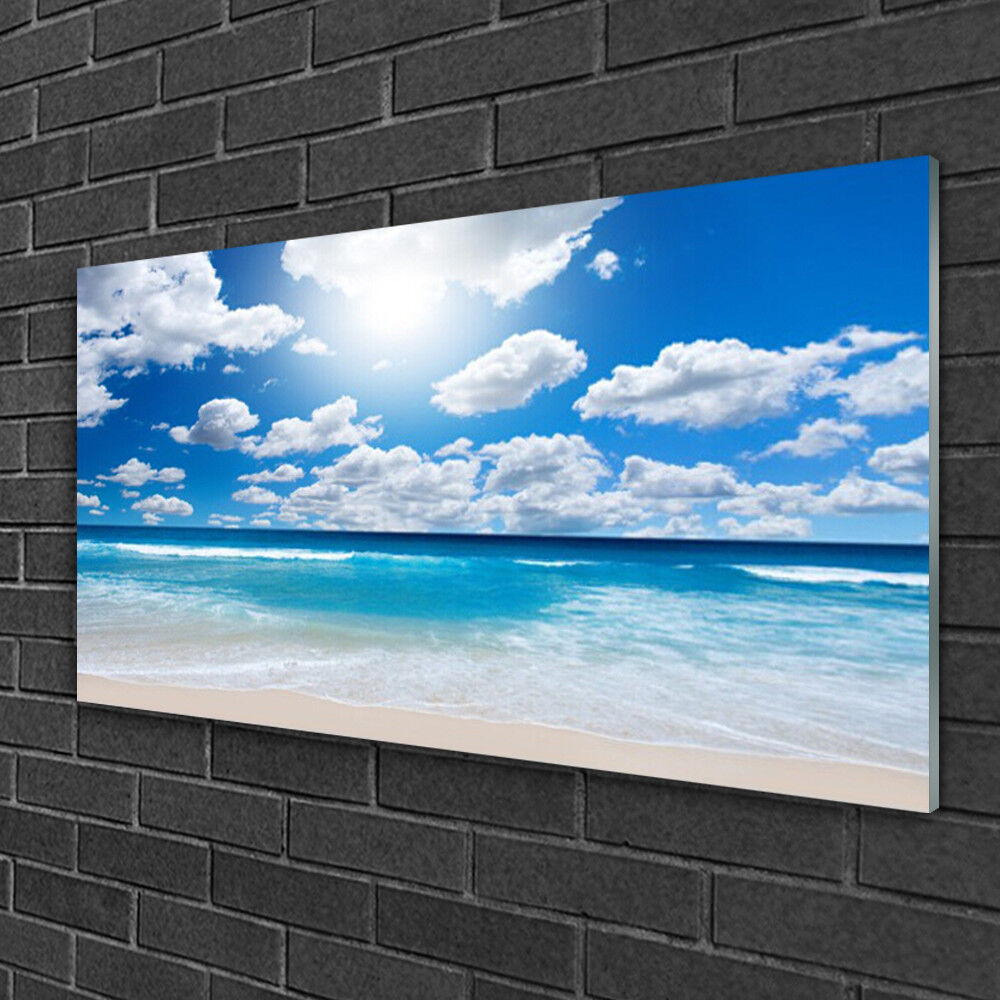 Glass print Wall art 100x50 Image Picture North Sea Beach Clouds Landscape