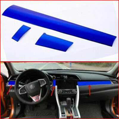 1x Blue ABS Interior Dashboard decor frame Trim For Honda Civic 10th 2016-2018