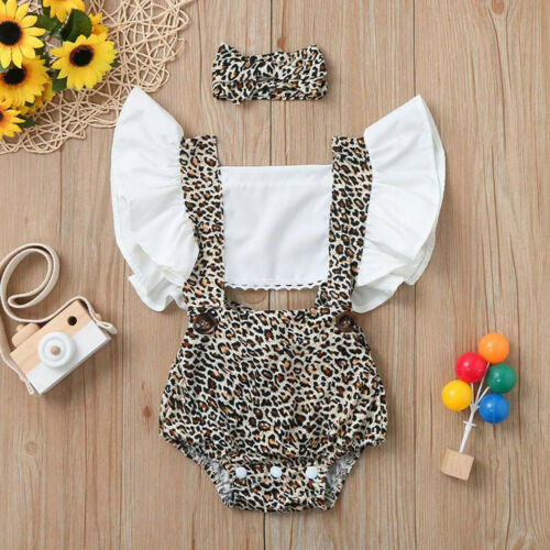 Infant Newborn Baby Girls Ruched Leopard Print Romper Bodysuit Outfits Clothes