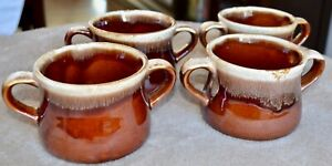 Set-of-4-McCoy-Pottery-Brown-Drip-Glaze-Double-Handled-Chili-Soup-Bowls