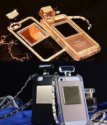 Diamond Perfume Bottle Back Cover Case Chain for Apple iPhone 6 4.7 / 6 Plus 5.5