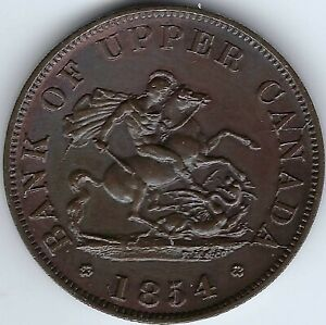 PROVINCE-OF-CANADA-Bank-1854-Halfpenny-Token-Breton-720-PC-5C1-Inv-4198