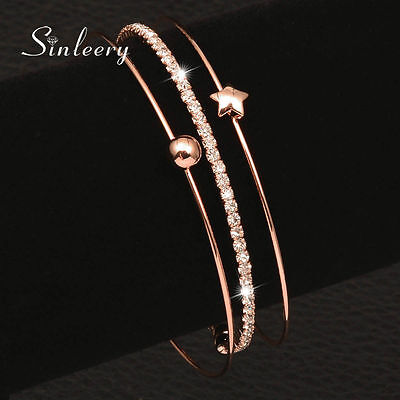 Women Bracelets Set Fashion Zircon Lucky Star Bangle 18K Rose Gold Plated Sl257
