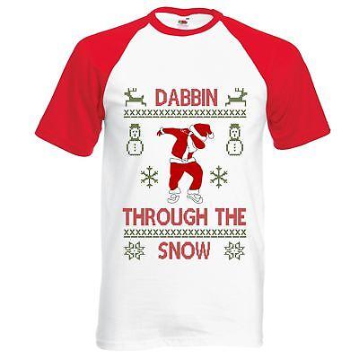 Kids Christmas t shirt Dabbin through the snow boys girls tshirt dab dabbing 2
