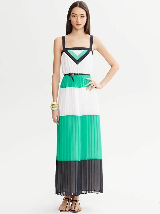 Banana Republic Maxi Dress Milly Collection Blau Weiß Farbeblock Pleated Größe 6