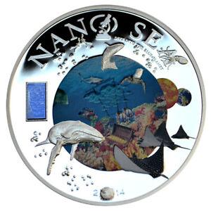 COOK-ISLANDS-10-2014-Silver-50g-Nano-Sea-Dive-into-the-Blue-Planet-w-Nano-Chip
