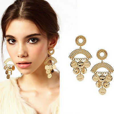 Fashion National Style Womens Round Gold Wafer Long Dangle Statement Earrings