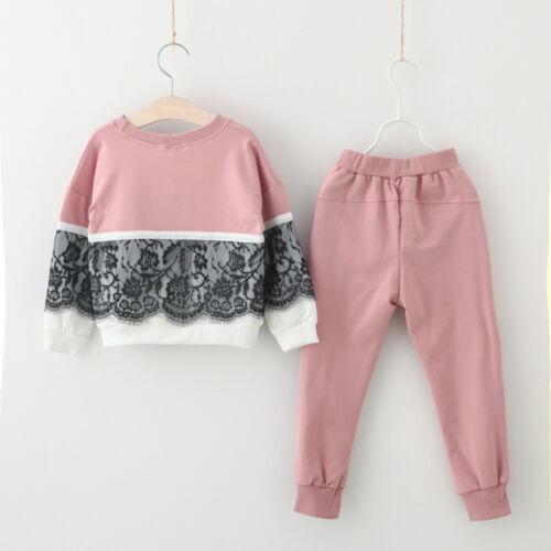 Toddler Kids Baby Girl Lace Pullover Sweatshirt Tops+Pants Outfits Clothes Set
