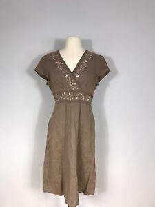J. Jill Brown and Pink Embroidered 100% Linen Short Sleeve Dress Women's 6