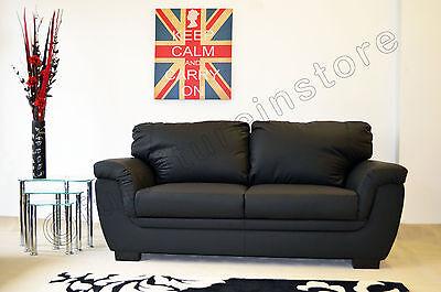 Superb Lazar Faux Leather Sofa Suite 2 Seater Black Nina Ebay Machost Co Dining Chair Design Ideas Machostcouk