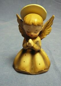 1958-NAPCO-PRAYING-ANGEL-Porcelain-Brown-w-Gold-Glitter-C32588-Vintage-Figurine