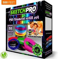 Nontoxic 3d Pen Filament Refill Kit - 20 Colors - 500 Feet - Universal 1.75mm
