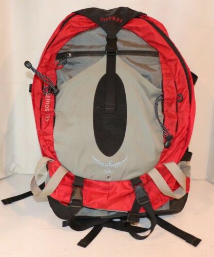 Details about  /Osprey Atmos 35 Red//Gray Size Large 35L Hiking Internal Frame Backpack