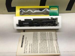 Minitrix-N-Scale-4-6-2-Pacific-ATSF-Santa-Fe-Powered-Steam-Locomotive-3420-NOS