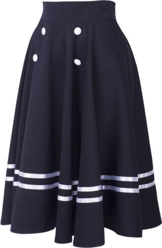 Küstenluder MADIY Vintage SAILOR STREIFEN Swing Skirt TELLERROCK Blau Rockabilly