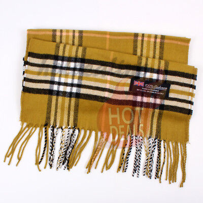 Men unisex 100/% CASHMERE Big Tartan Stripe Plaid Wool Camel Wrap Scarf