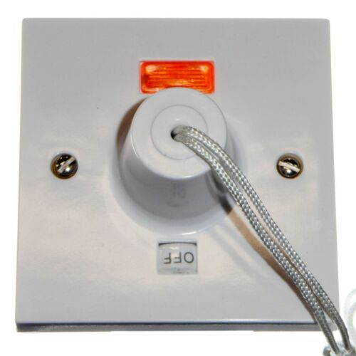 Click PRW211 50 Amp Shower Pull Cord Switch with Neon and ON OFF Indicator 50A