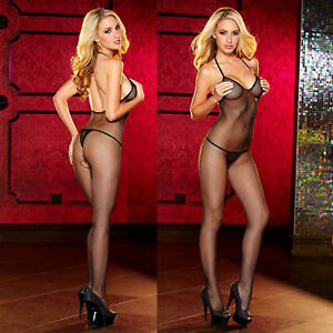 afc1841f6 Image is loading Sexy-Fishnet-Bodystocking-Black-Crotchless-Halter-Nude -Back-