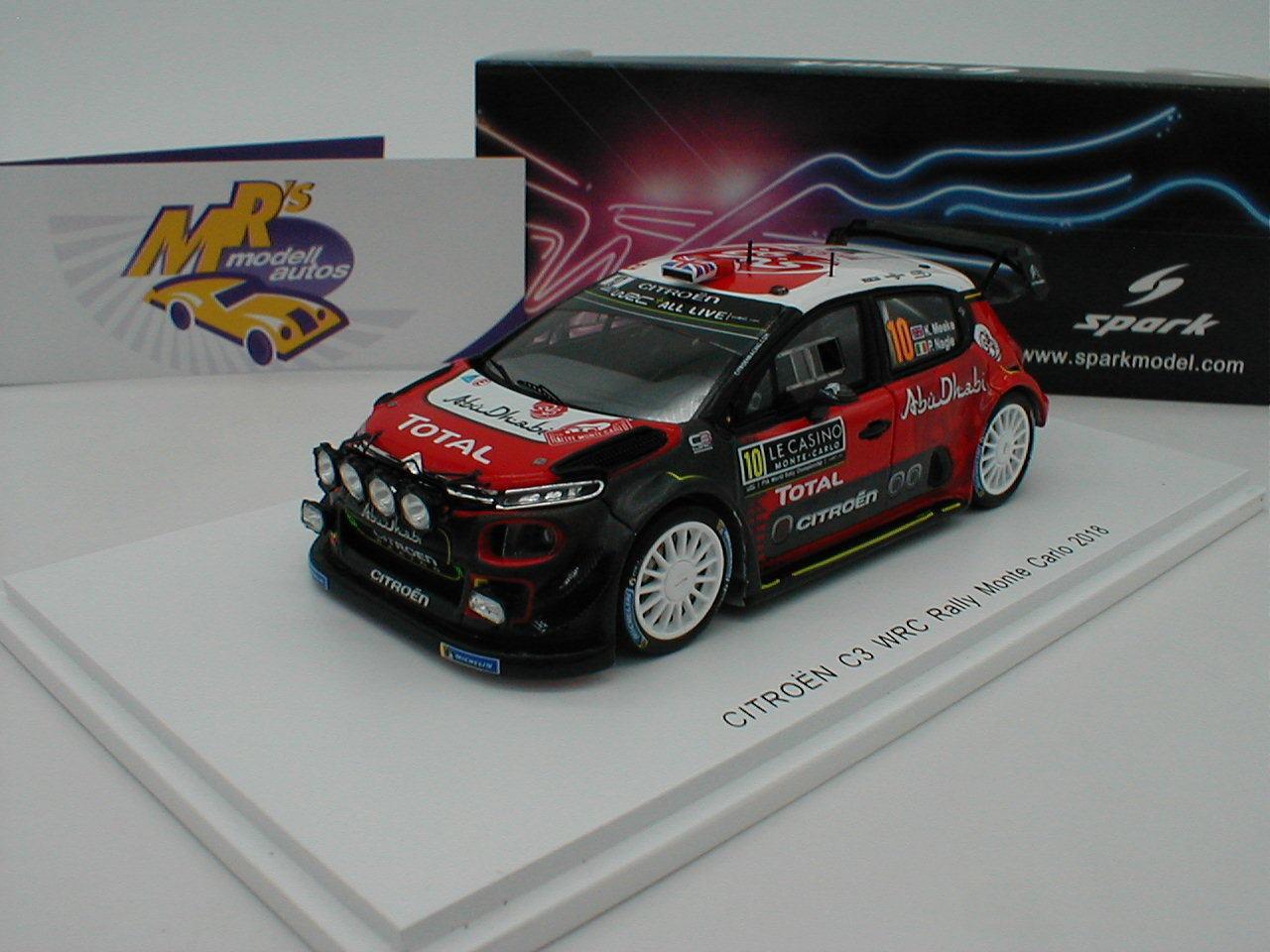 Spark S5960 - Citroen C3 C3 C3 WRC Rallye Monte Carlo 2018    Kris Meeke   1 43 NEU    Verschiedene Stile und Stile  79f565