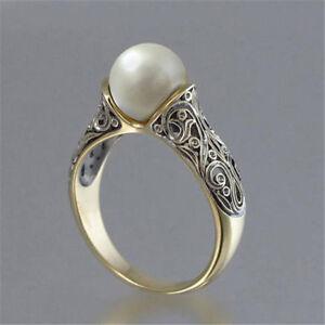 Fashion Wedding Ring for Women 18k Yellow Gold Filled White Sapphire Ring Sz6-10