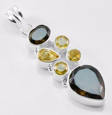 27.6Cts Huge Smokey Quartz, Citrine Pendant Solid 925 Silver Jewelry EBP013