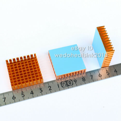 4pcs 35x35x10mm or anodisé dissipateur de chaleur en aluminium avec thermique rubans adhésifs