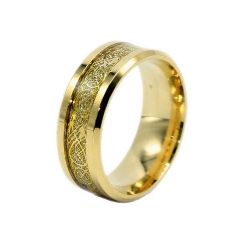 Celt Dragon Band Ring Men Stainless Steel Titanium Gold Silver Black Size 6-13